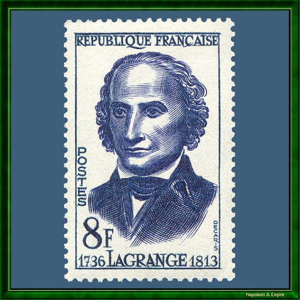 French 8 francs stamp issued in 1958 showing Joseph Louis Lagrange