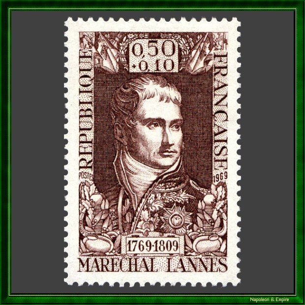 50 cents stamp issued in France in 1969 to commemorate the bicentennial of the birth of marshal Jean Lannes
