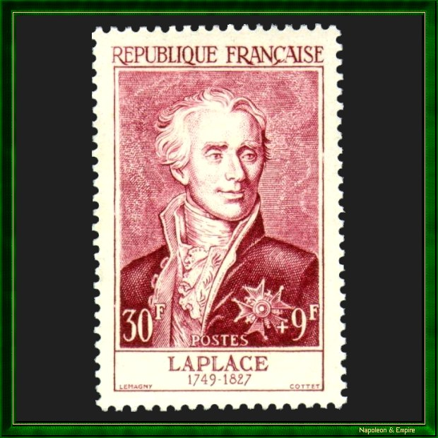 French 30 francs stamp issued in 1950 depicting Pierre Simon de Laplace