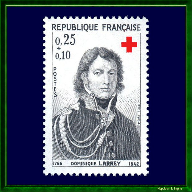 French 25 cents stamp issued in 1964 representing Dominique Larrey