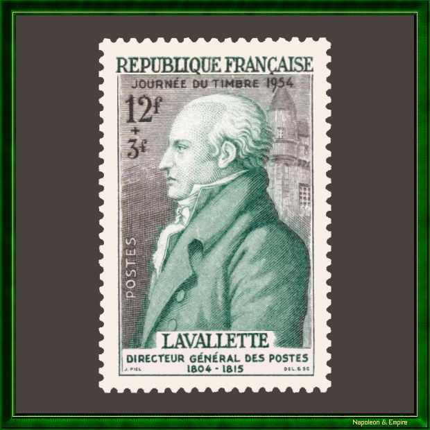 French 12 + 3 francs stamp issued in 1954 showing Antoine Chamans de Lavalette