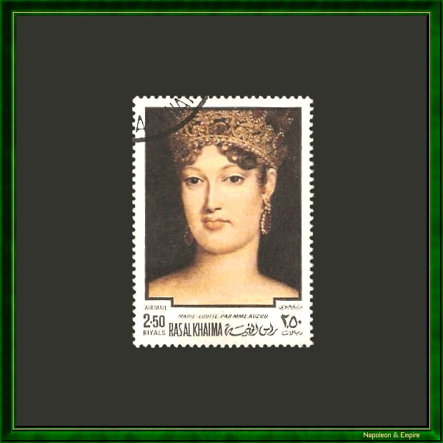 2,50 riyals stamp issued by the emirate of Ras El Khaimah showing Marie-Louise of Austria