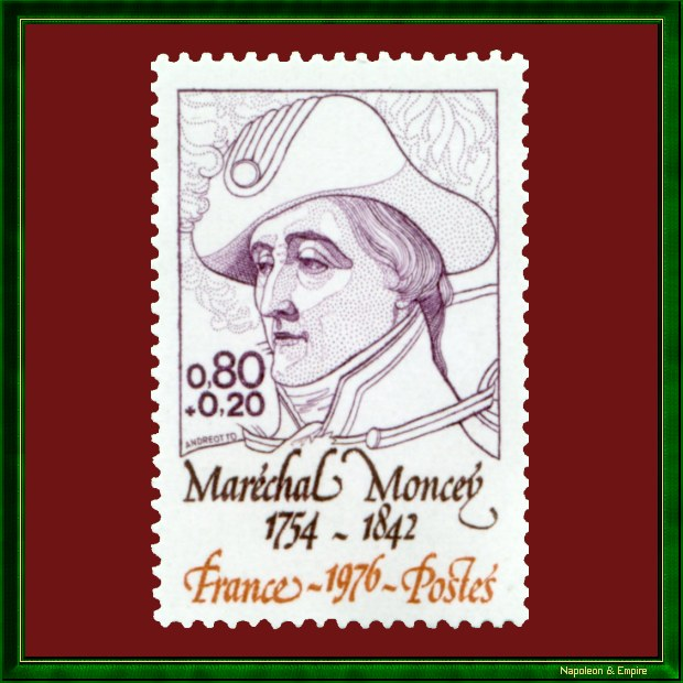 French 80 cens stamp issued in 1976 showing le maréchal Moncey