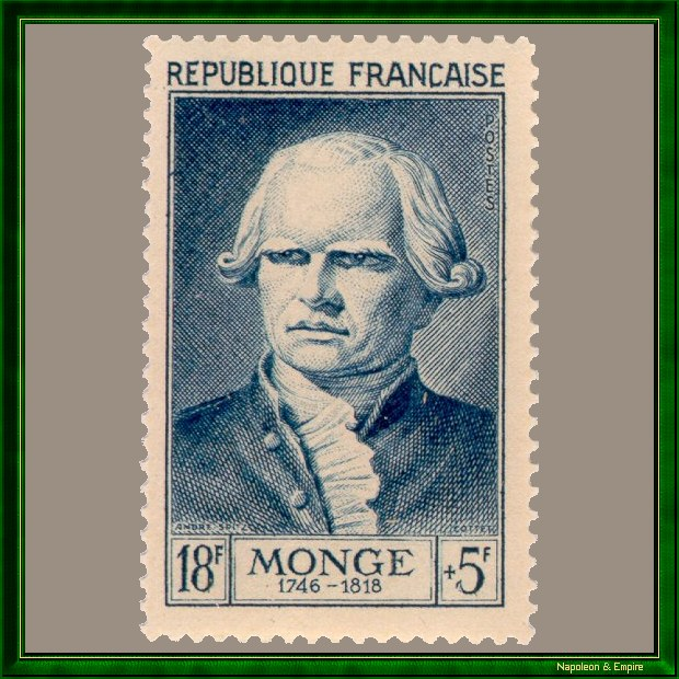 French 18 francs stamp issued in 1953 showing Gaspard Monge