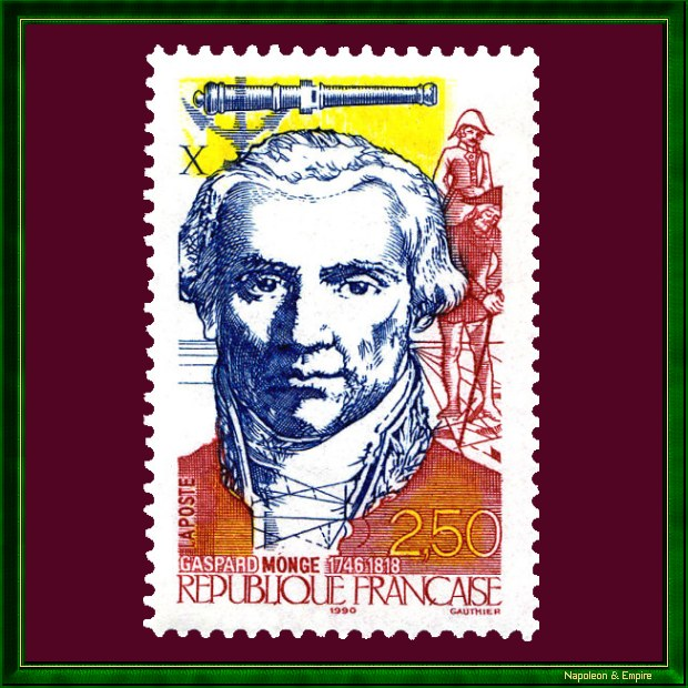 French 2.5 francs stamp issued in 1990 representing Gaspard Monge
