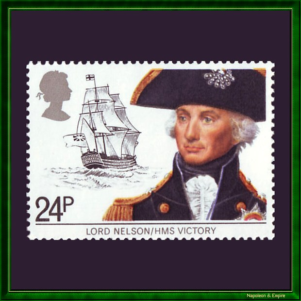 British stamp showing admiral Nelson with HMS Victory