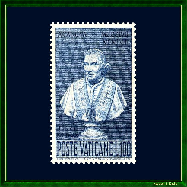 Vatican stamp showing pope Pius VII