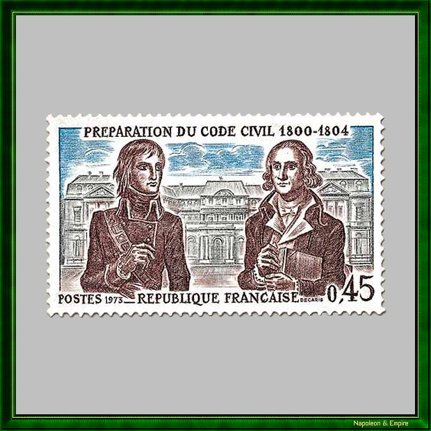 French 45 cents stamp issued in 1973 showing Bonaparte with Portalis