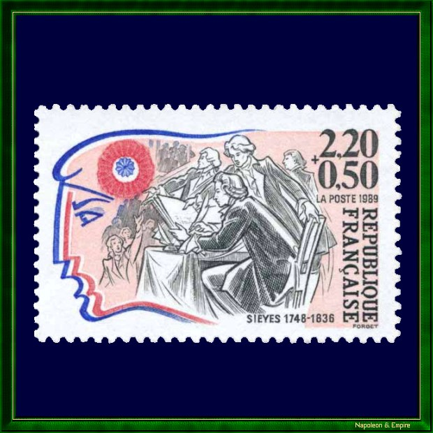 French stamp of 2.20 francs, issued on the occasion of the bicentenary of the French Revolution showing Emmanuel Siéyès