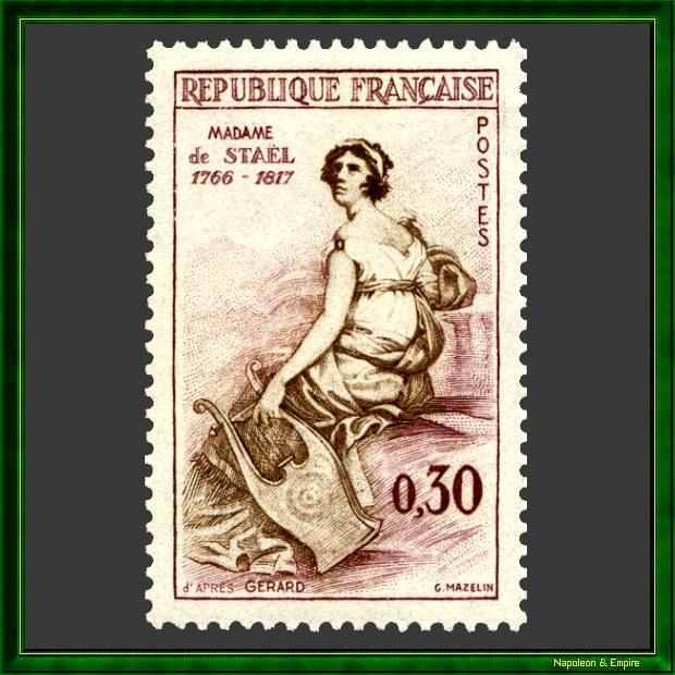 French 30 cents stamp issued in 1960 showing Germaine de Stael