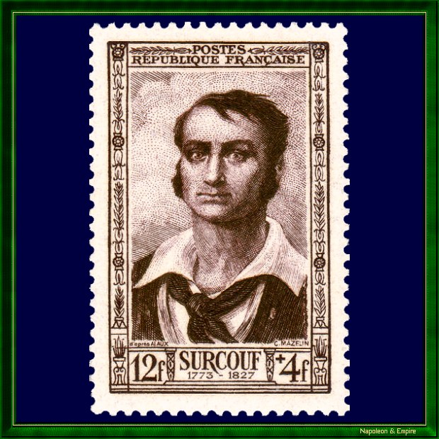 French 12 francs stamp issued in 1951 showing Robert Surcouf