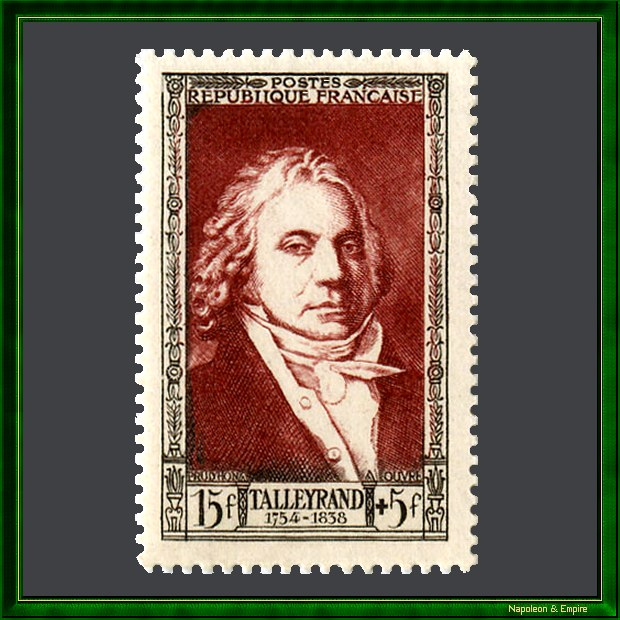 French 15 francs stamp issued in 1951 representing Talleyrand