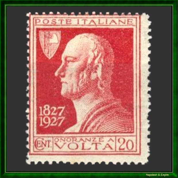 Italian stamp issued on the occasion of the hundredth anniversary of the death of the physicist Alexandre Volta